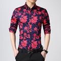 slim fit mens shirts hawaiian floral shirt men shirt brand casual 2016 M-5XL long sleeve mens dress shirts fashion chemise homme