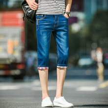 Jeans Summer New Men's Wild Washed Pants Cropped Pants Turns Pants Feet Men's blue Micro-bomb Cotton Straight Slim Cropped Jeans цена