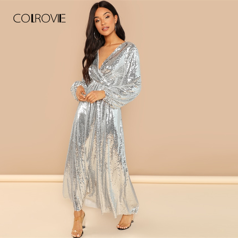 COLROVIE Silver Solid V Neck High Waist Wrap Sequin Party Dress Women 2018  Autumn Long Sleeve Sexy Dress Evening Long Dresses-in Dresses from Women s  ... 80976b79dc10