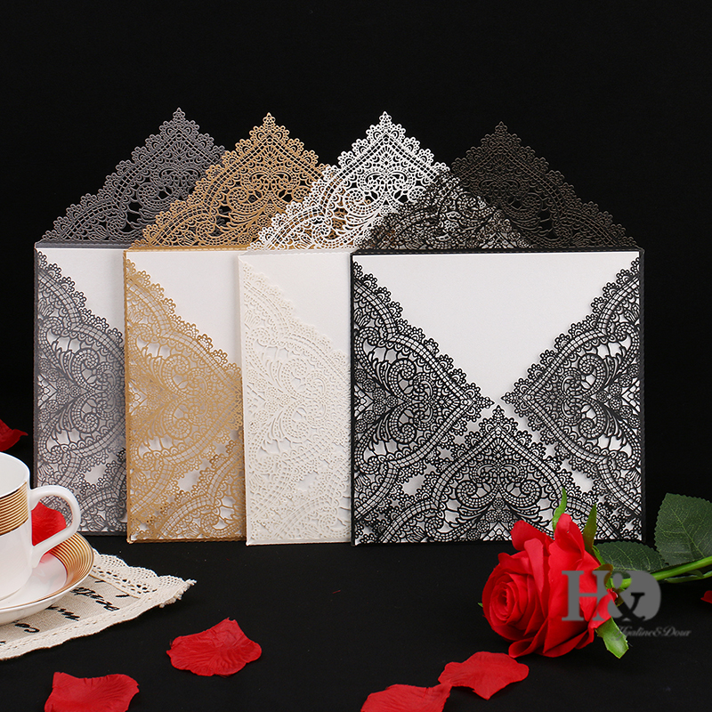 60Pcs Wedding Party Invitation Card Romantic Decorative Cards Envelope Delicate Carved Pattern Wedding Invitations Party Supply