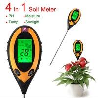 4 1 디지털 PH 미터 전문 온도 햇빛 PH 정원 토양 수분 시험기 식물 잔디 LCD 백라이트