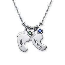 Silver Feet Necklace Personality Birthstone Baby Pendant Custom Any Name Best Birthday Gift Dropshipping YP2976