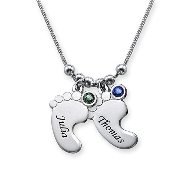Silver feet necklace personality birthstone baby feet pendant silver feet necklace personality birthstone baby feet pendant necklace custom any name best birthday gift dropshipping negle Images