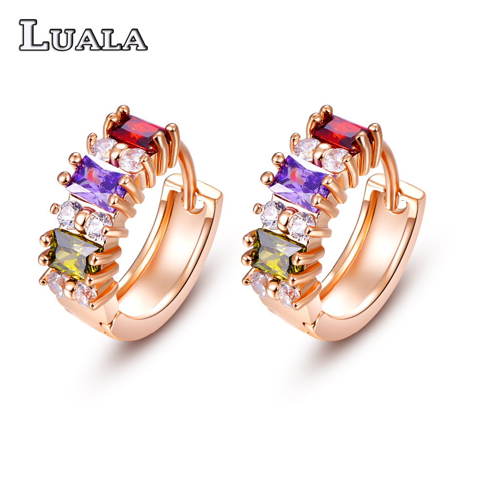 LUALA 2016 Fashion Hoop Earring HOT SALL Multicolor CZ
