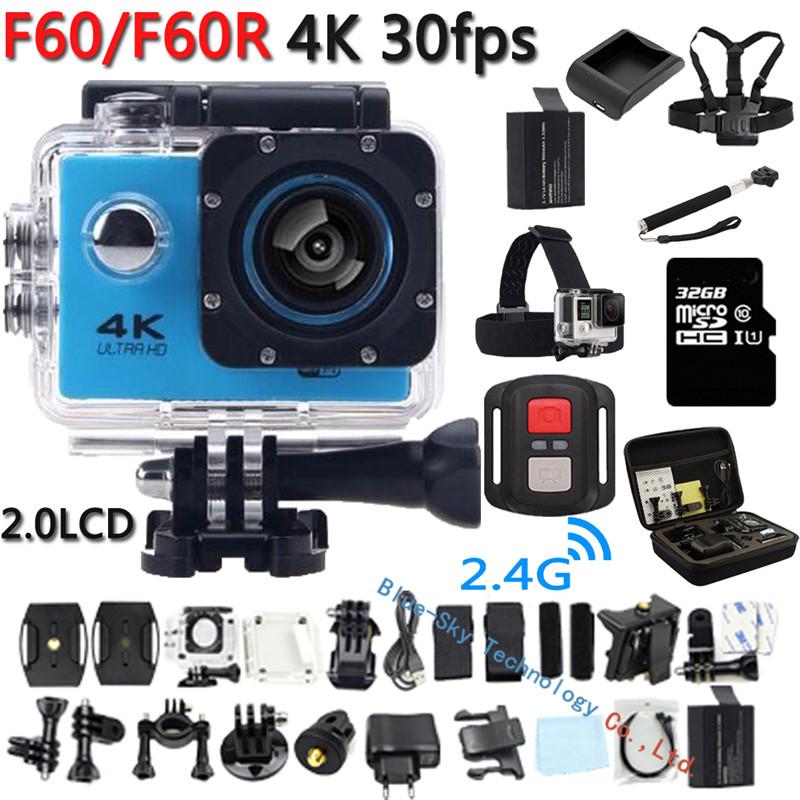 Prix pour 4 K D'action Caméra D'origine F60/F60R À Distance WiFi 2.0 LCD 170D Len Casque Cam Sous-Marine aller Étanche pro Caméscope P @ 60fps