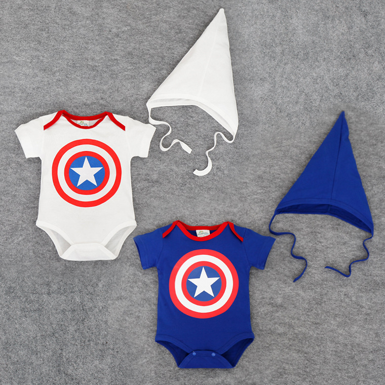 Free Shipping Baby Boy Cotton   Rompers   White Captain America Hero Costume Superstar Kids Clothes Two Piece Tricorne Hat Jumpsuits