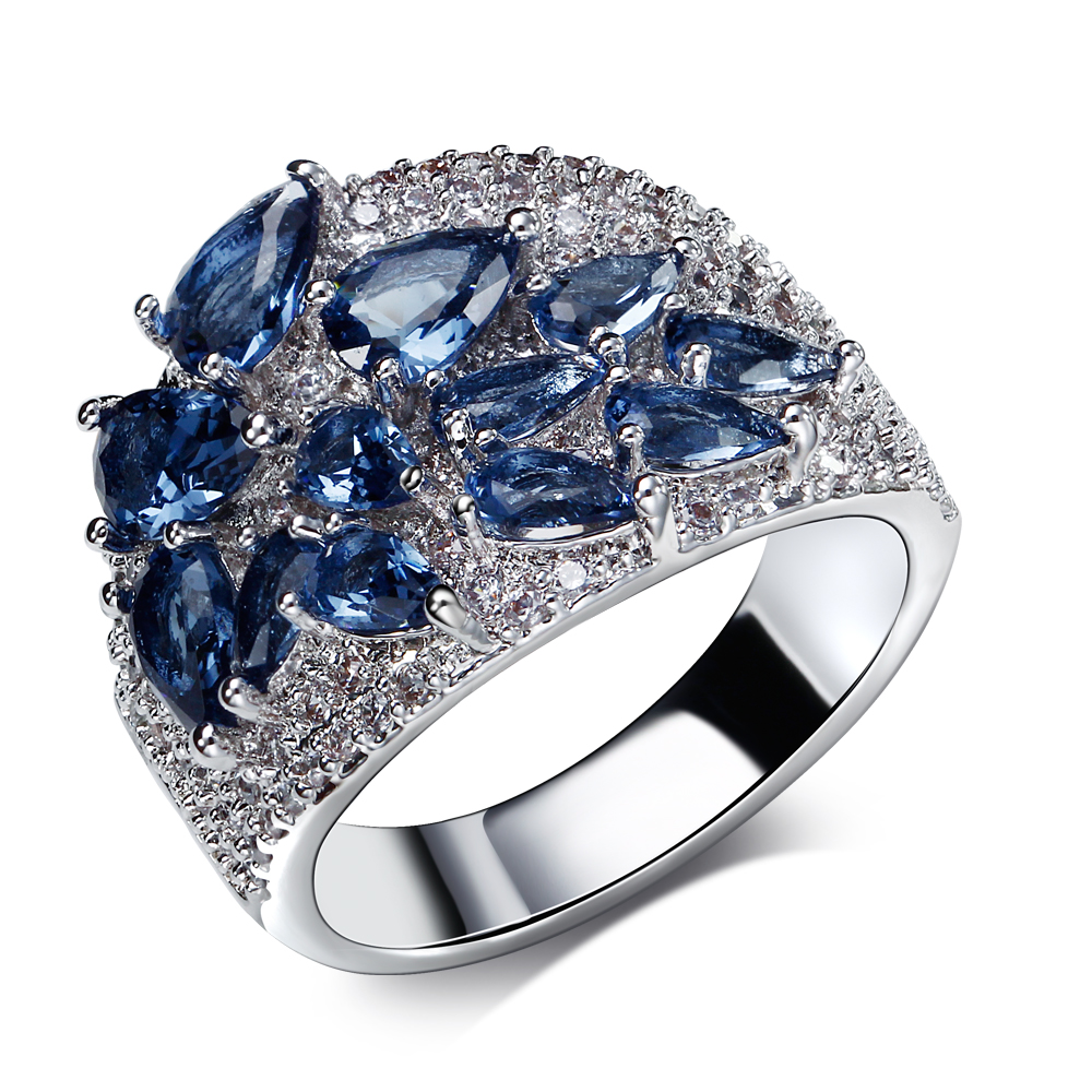 Ring in 5 Colors Cubic Zirconia of Blue Green Champagne Clear And Siam CZ Jewelry Fashion