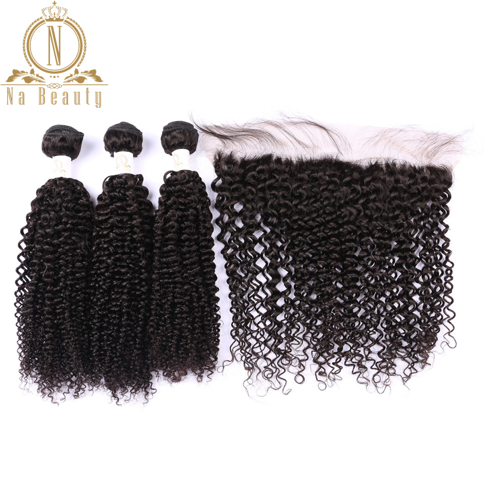 Brazilian Human Hair Kinky Curly 3 Bundles With 13*4 Closure Front Pre Plucked Lace Frontal Remy Hair Bundle Deal Black Color
