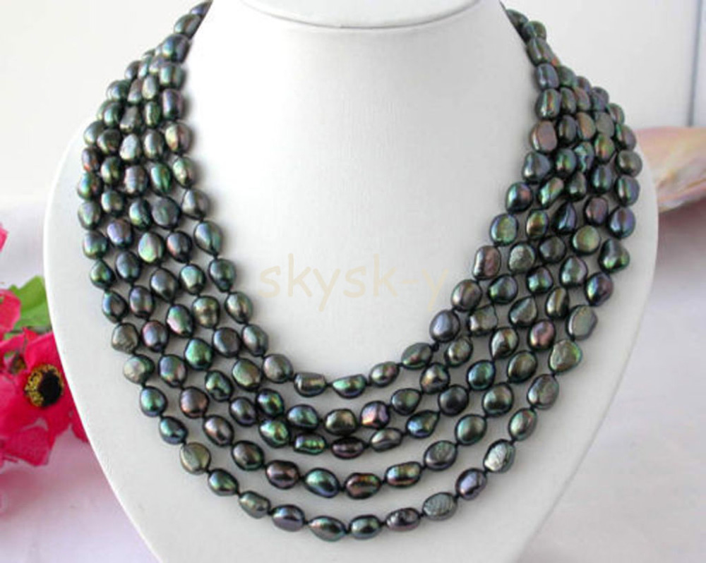 Long 120 pouces 7-8mm mer du sud baroque noir paon réel colliers de perles AA