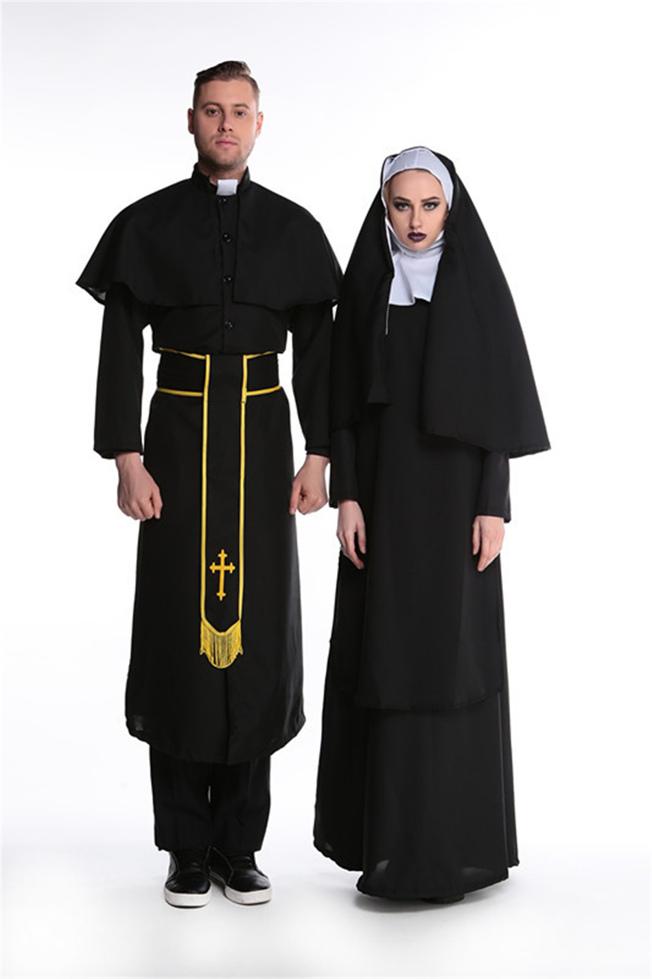Medieval Cosplay Halloween Costumes for Women Priest Nun Missionary Costume Set 8