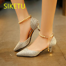 SIKETU 2017 Free shipping Spring and autumn sex women shoes high heels shoes fashion sweet Wedding shoes pearl pumps g089