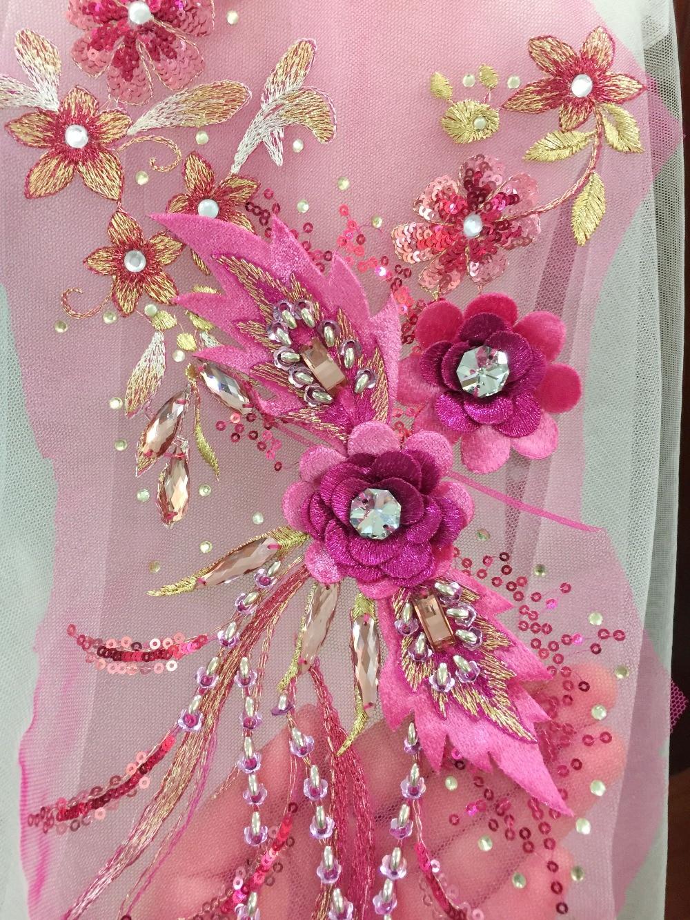 2 pcs 3D Rhinestone Beaded Flower Lace Applique in Blue  684a647db9c0