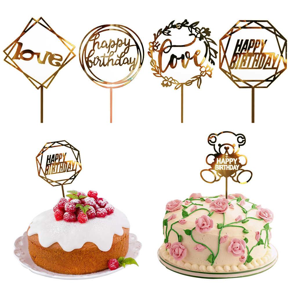 1pc Golden Glitter Acrilico carta di Felice Torta Di Compleanno Topper Per Baby Shower Festa di Nozze Torte Top Bandiere Decorazione accessori