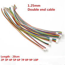 10pcs JST 1.25mm 2P/3P/4P/5P/6P/7P/8P/9P/10Pin Double End Connector 1.25 200mm Plug Cable Same Direction