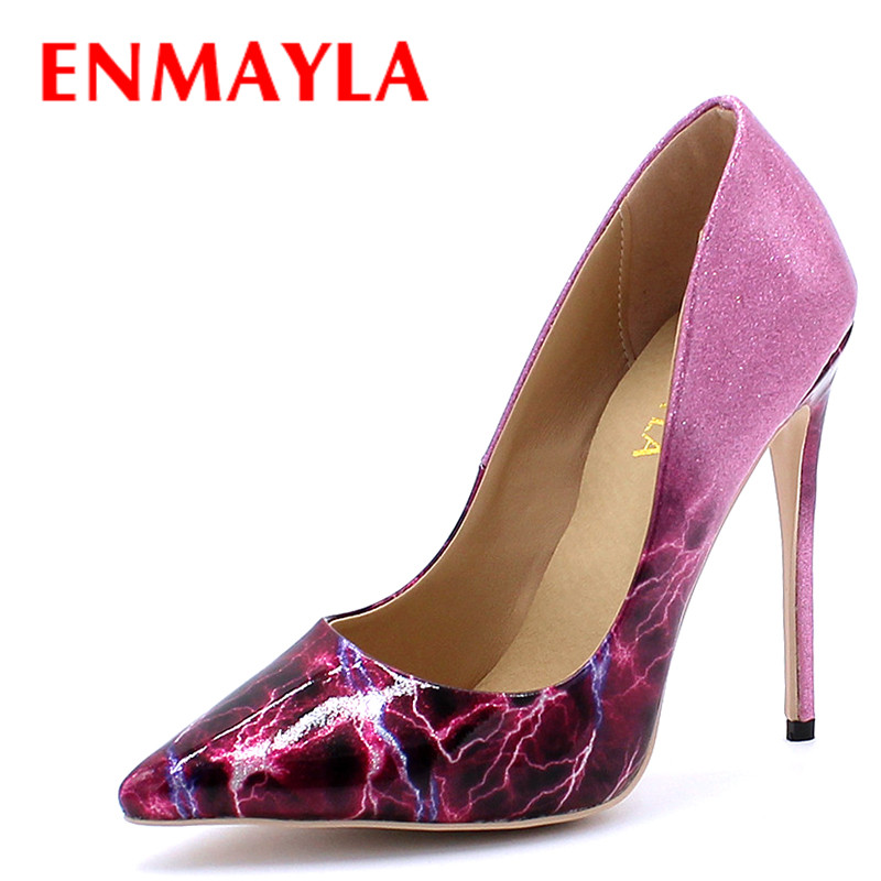 ENMAYLA Extrme High Heels Pointed Toe Shallow Pumps Plus Size 34-43 Light Purple 100% Real Picture Shoes Party Wedding Shoes plus size 34 46 fashion high heels shoes women pumps square heel pointed toe dress pumps shallow party stilettos ladies footwear