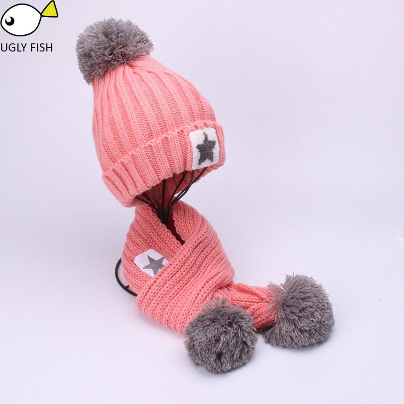 Girls Scarfs And Gloves Kids Hat And Scarf Set  For Children Winter Set For Children Scarf Hat Set Girls Boys
