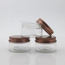Пустые ПЭТ пластиковые банки алюминиевые бронзовые крышки прозрачные горшки косметические 30 г 1 унций косметический контейнер 50 шт