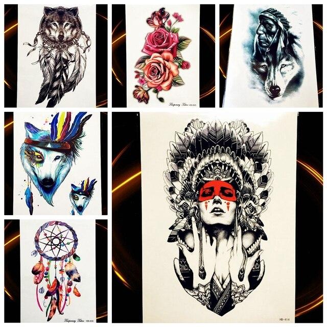 25 Style Indien Tribal Loup Guerrier Tatouage Temporaire Etanche