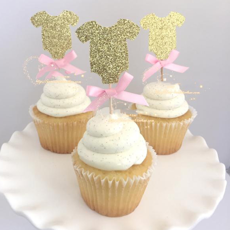 Gold baby clothes cupcake topper picks for kids birthday for Baby shower cupcake picks decoration