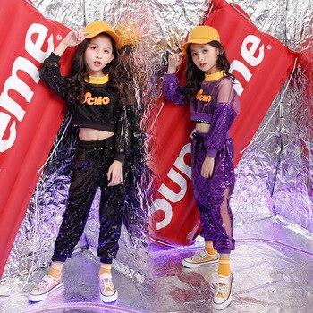 Crianças lantejoulas hip hop roupas recortadas tops calças casuais para meninas jazz trajes de dança de salão roupas de dança de palco wear