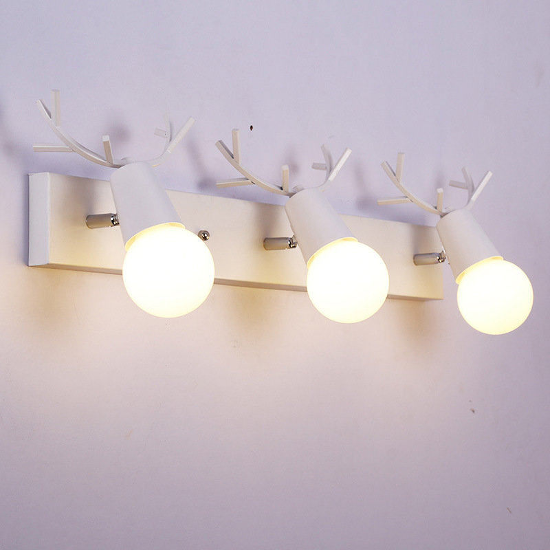 Modern simple led antler wall lamp creative living room bedroom bedside washroom mirror wall lamp boy girl animal children lamp