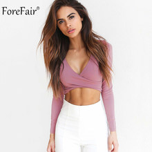 286032ef1b2 ForeFair Trend Cross Sexy Crop Top Women 2018 Wrap Slim Tops Black White  Autumn Winter Long Sleeve T shirt Women