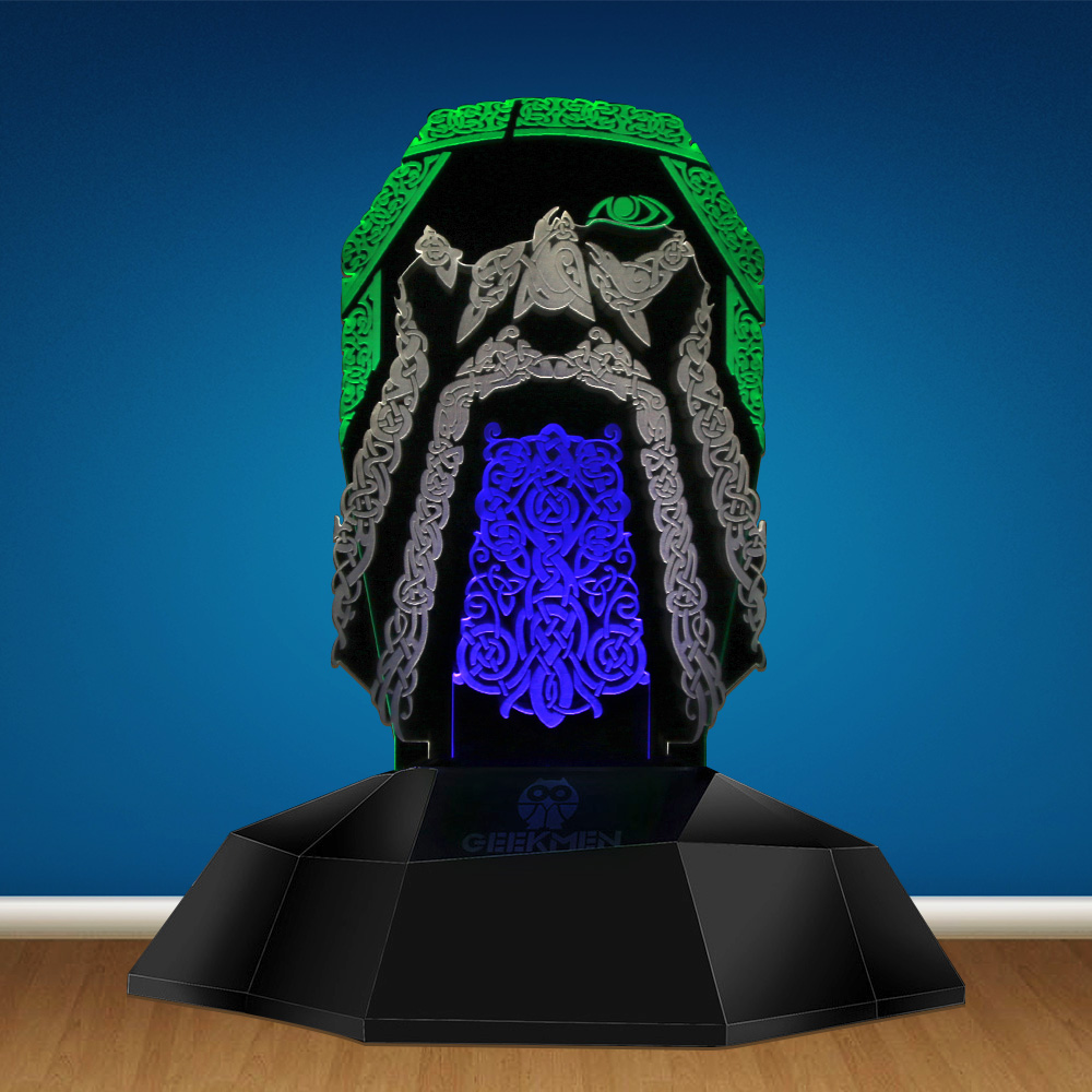 Viking Odin Symbol 3D Line Lamp Odin Nordic Scandinavian 3D Optical Illusion Lamp Novelty LED Night Light Table Lamp