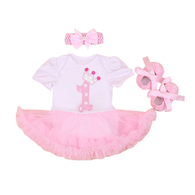 c5c8ea012 3PCs per Set Baby Girl Infant Clothing Number 1 Crown First Birthday ...