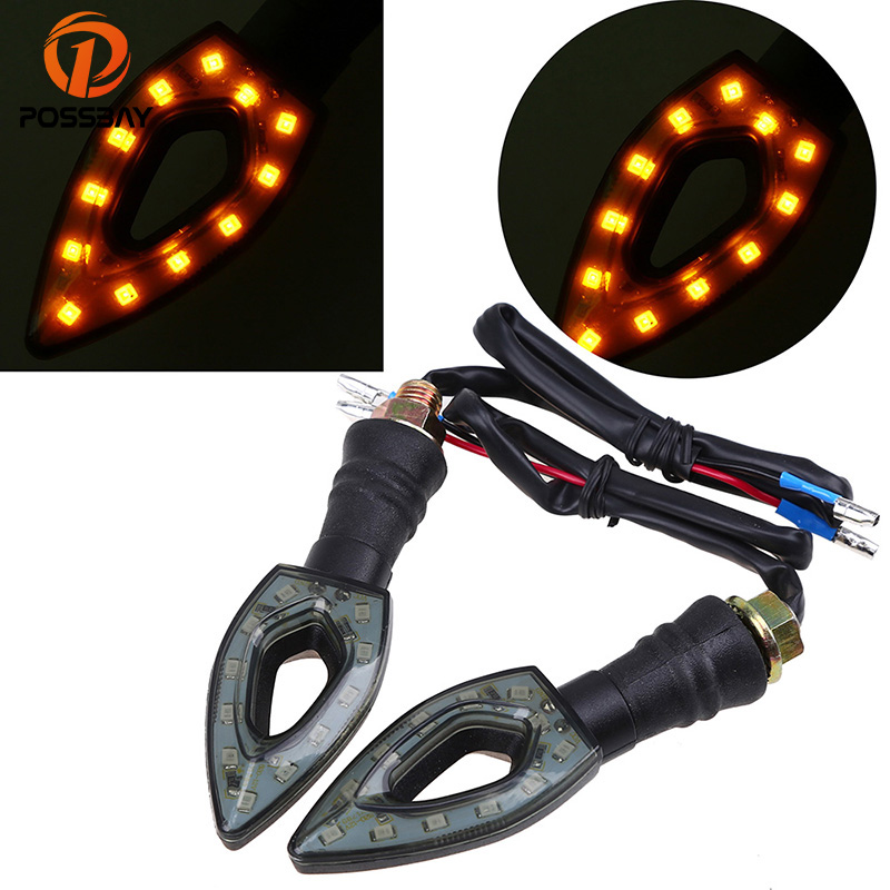 POSSBAY 1 Pair LED Motorcycle Turn Signals Flasher Lights Universal For Honda Kawasaki Suzuki Harley Motorbike Arrow Lamp