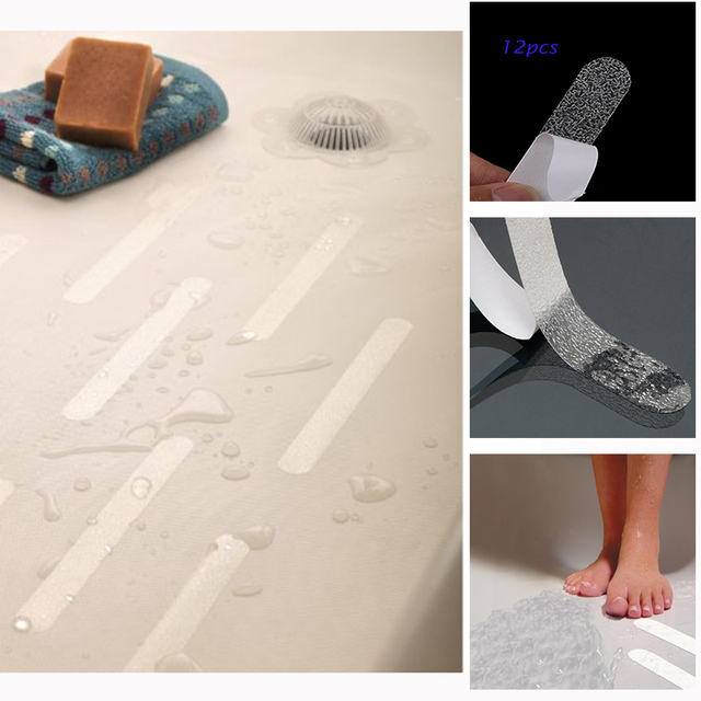 12pcs anti slip bath grip stickers clear non slip flooring safety bath tub shower