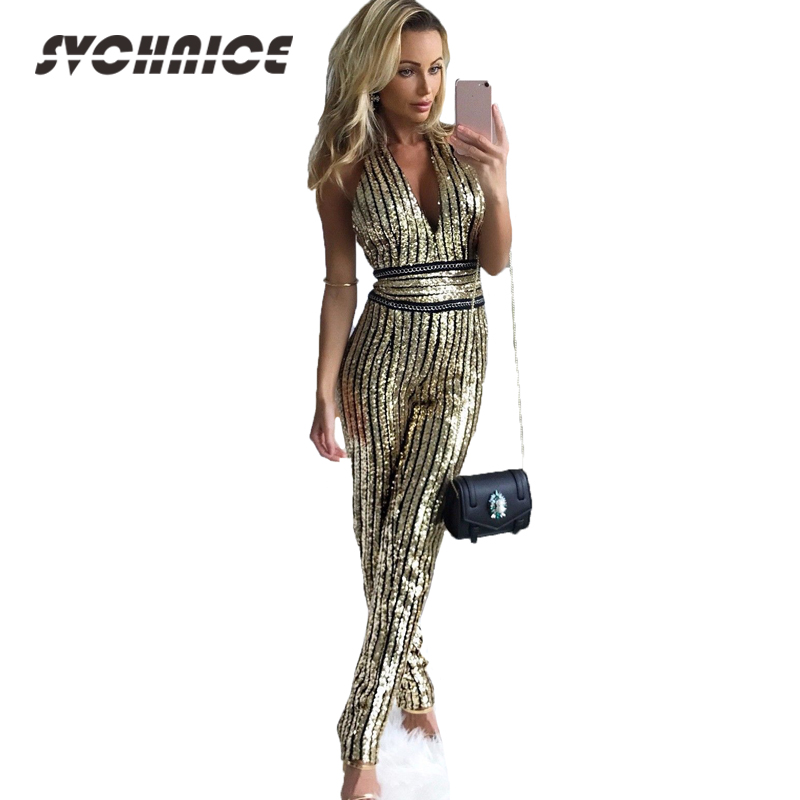 48ffa00c20dd Ladies Elegant Jumpsuit Party Clubwear Fashion Summer Sexy Overalls 2018  Backless Sequin Jumpsuit For Women Gold