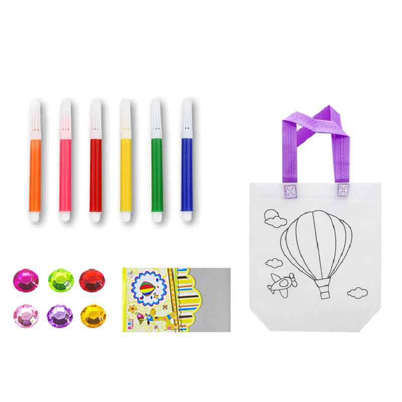 3 Pcs/sets Creative Cartoon Recycling Kids DIY Painting Bags Colorful Pen Learning Drawing Tools Educational Toys Random Style