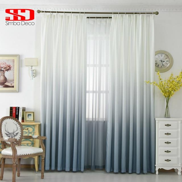 Grau Farbverlauf Vorhänge für Wohnzimmer Baumwolle Vorhänge Für ...