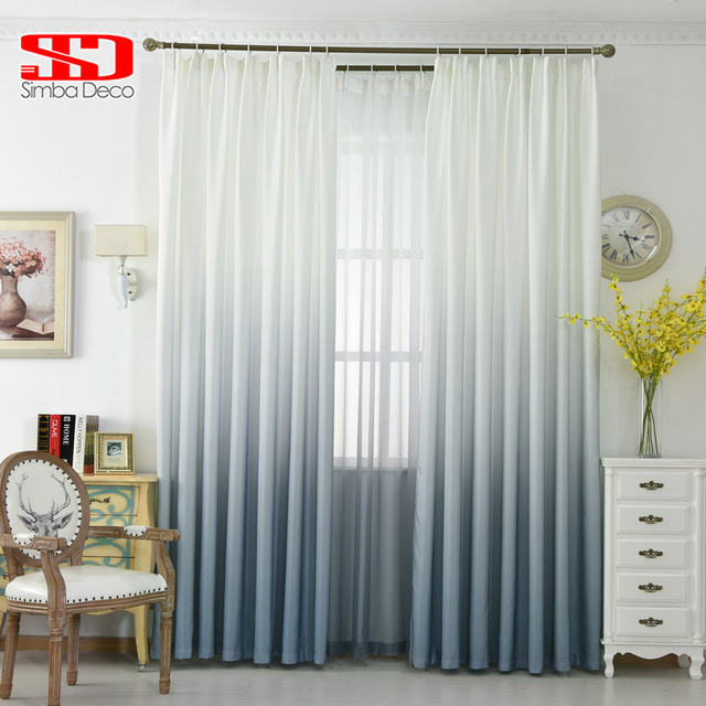 Grey Gradient Color Curtains For Living Room Cotton Drapes For Bedroom  Modern Curtain Fabric +Voile