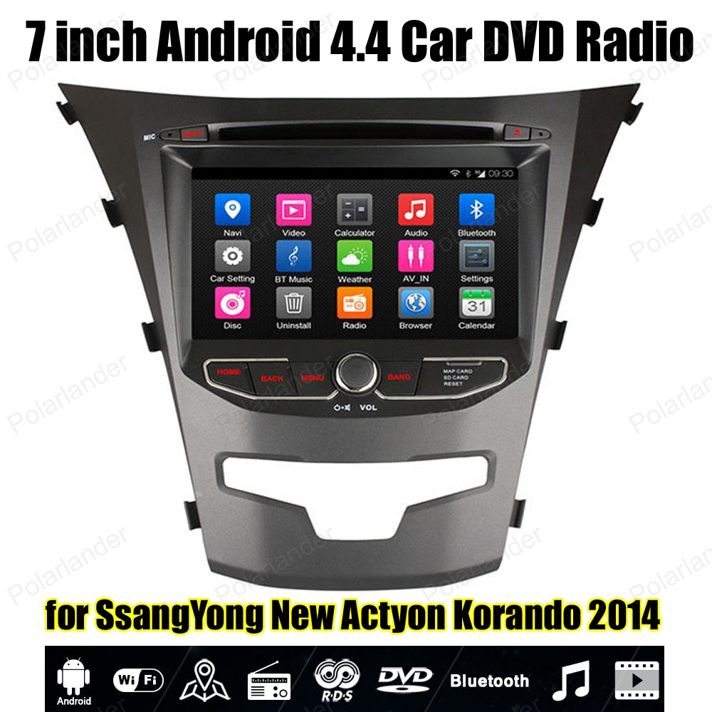 Android4.4 Car DVD Quad Core radio Support BT 3G WiFi Mirror Link OBDII TPMS GPS For SsangYong New Actyon Korando 2014 image