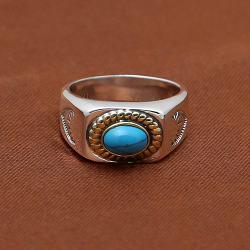 S925 Sterling Silver Feathers Ring Retro Thai Silver Takahashi Kagura Goro's Simple Smooth Inlaid Turquoise Ring Men And Women