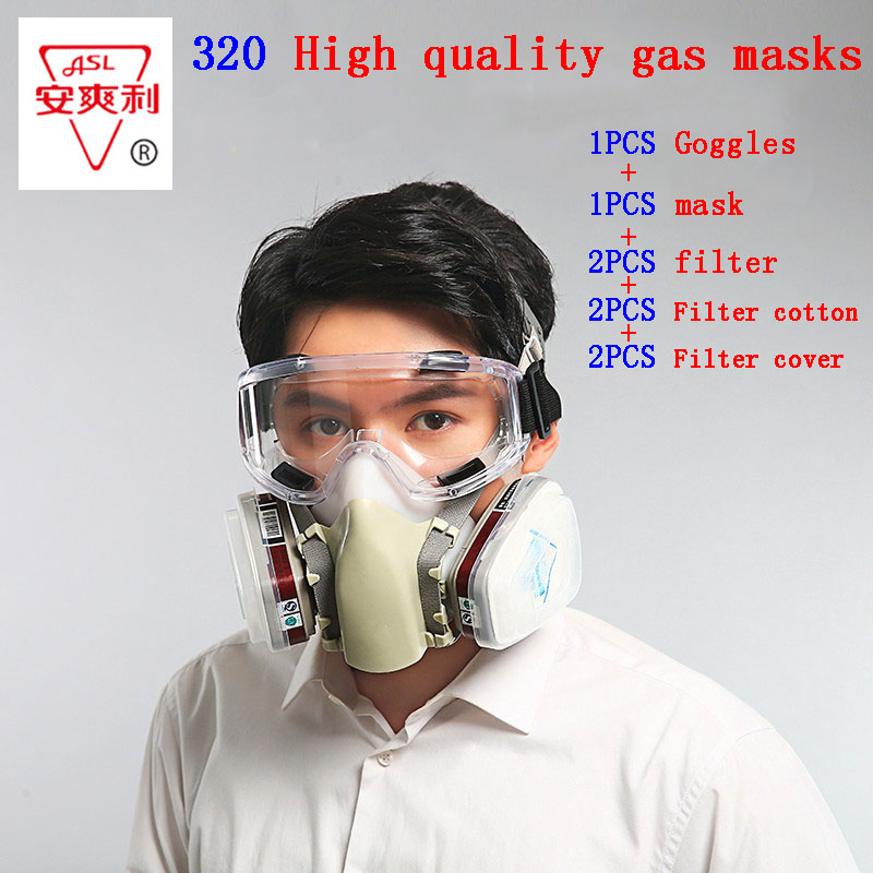 ASL-320 respirator gas mask With goggles Silica gel protective mask against Painting pesticide Toxic gas chemical gas mask adjustable windproof elastic band night vision goggles glass children protection glasses green lens eye shield with led