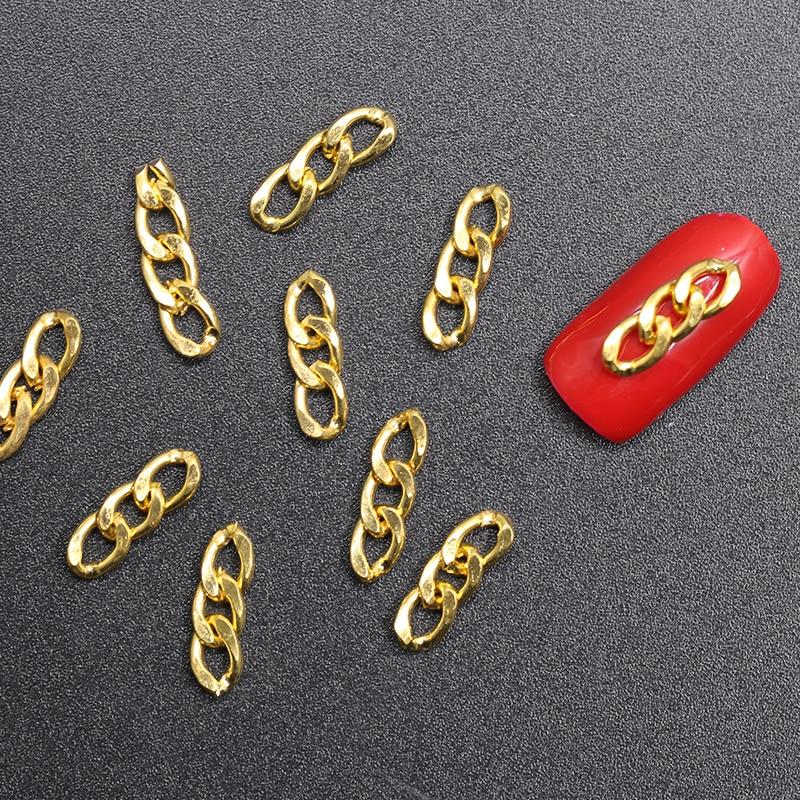 20PCs TOP 3D Metal Chain Black Gold Silver Japan Korea Nail Art Decorations Punk Style DIY Nail Tools Charm Nail Accessory
