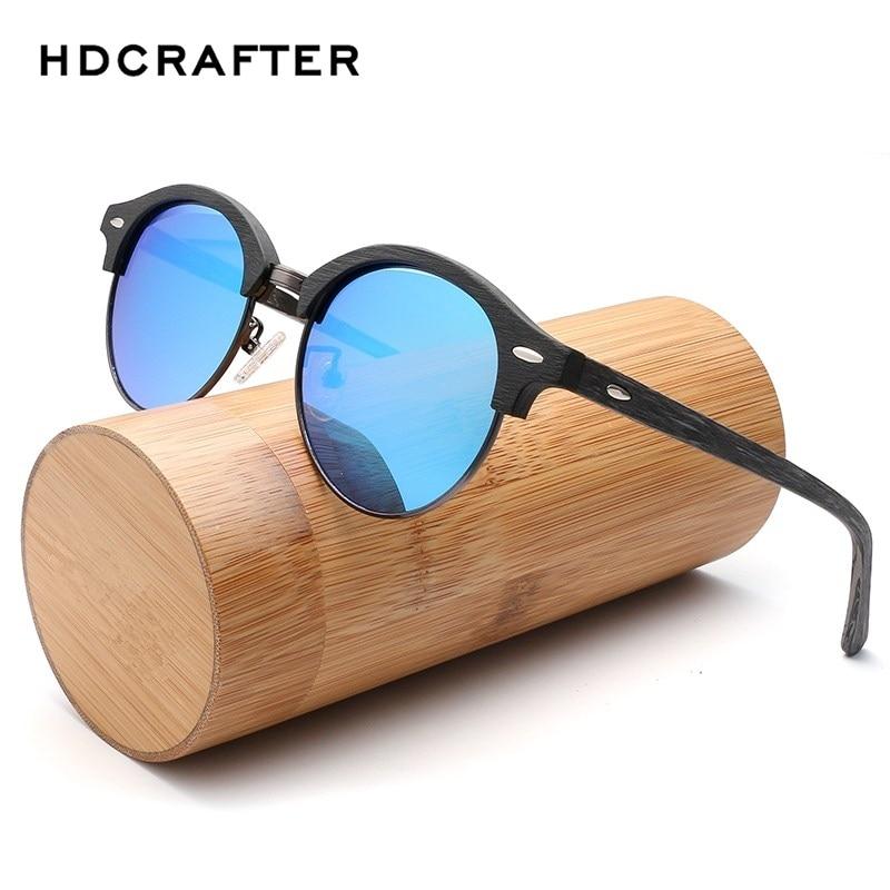 HDCRAFTER Brand Designer Wooden Sunglasses Man Retro Classic Sun Glasses Wood Polarized Sunglasses Round Eyewear Oculos