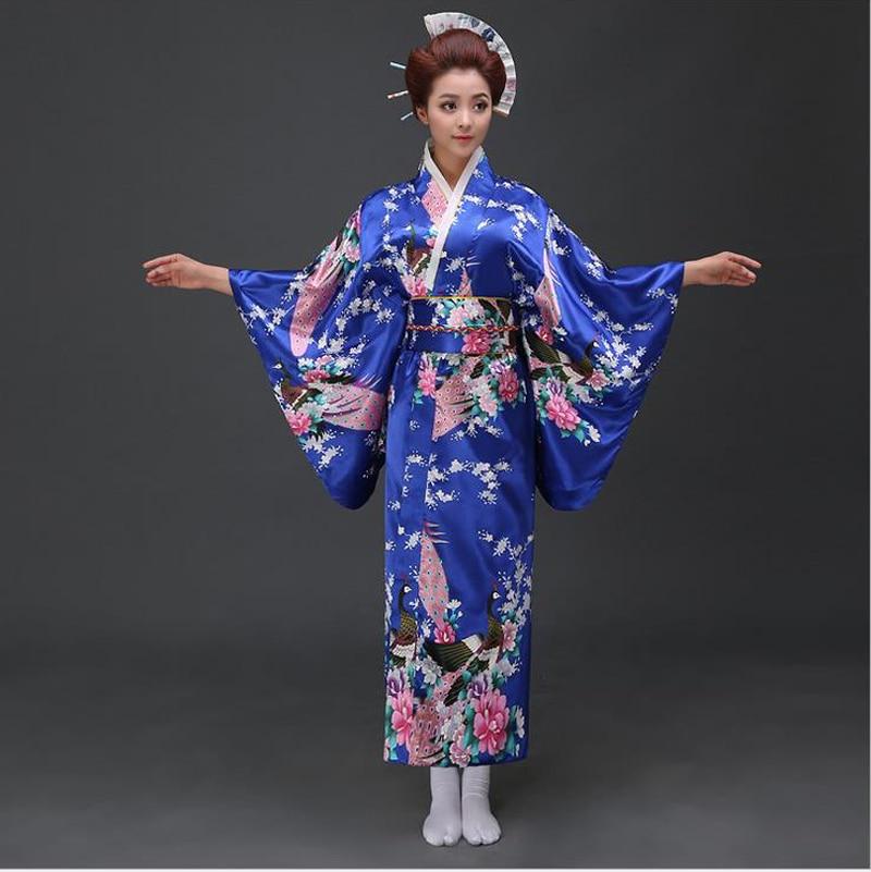 Blue Japanese National Women Silk Kimono Yukata With Obi Novelty Evening Dress Cosplay&Halloween Costume Floral One Size B-021