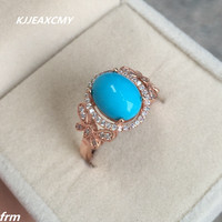 KJJEAXCMY Fine Jewelry Fine 925 Sterling Silver Inlaid Pure Natural Turquoise Female Ring Wholesale Live Mouth