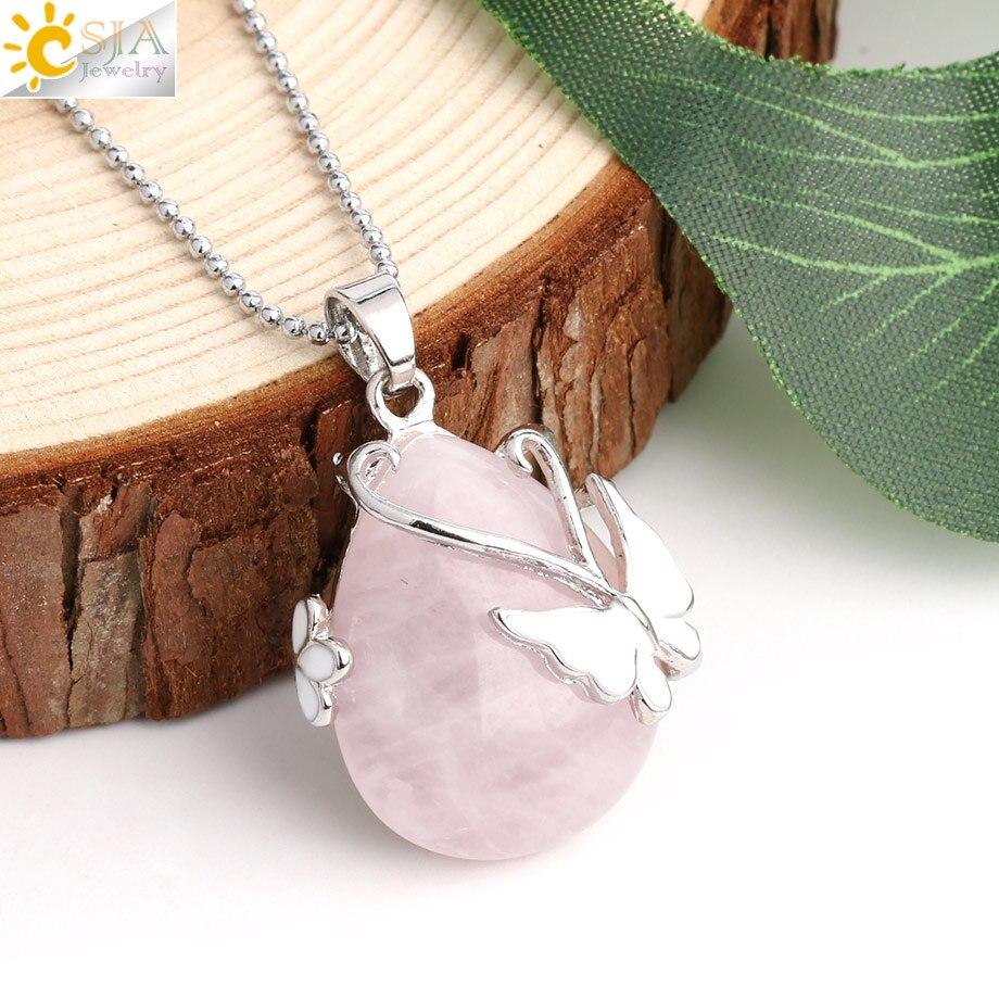 CSJA Water Drop Natural Stone Pendant Pink Quartz Purple Crystal Tiger Eye Butterfly Flower Pendants Necklace for Women Men G082
