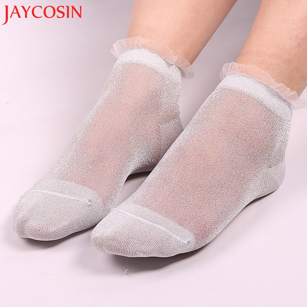 2018 New Arrival Free Shipping  Women's Fashion Ladies Sheer Silky Glitter Transparent Short Ankle Socks ST7