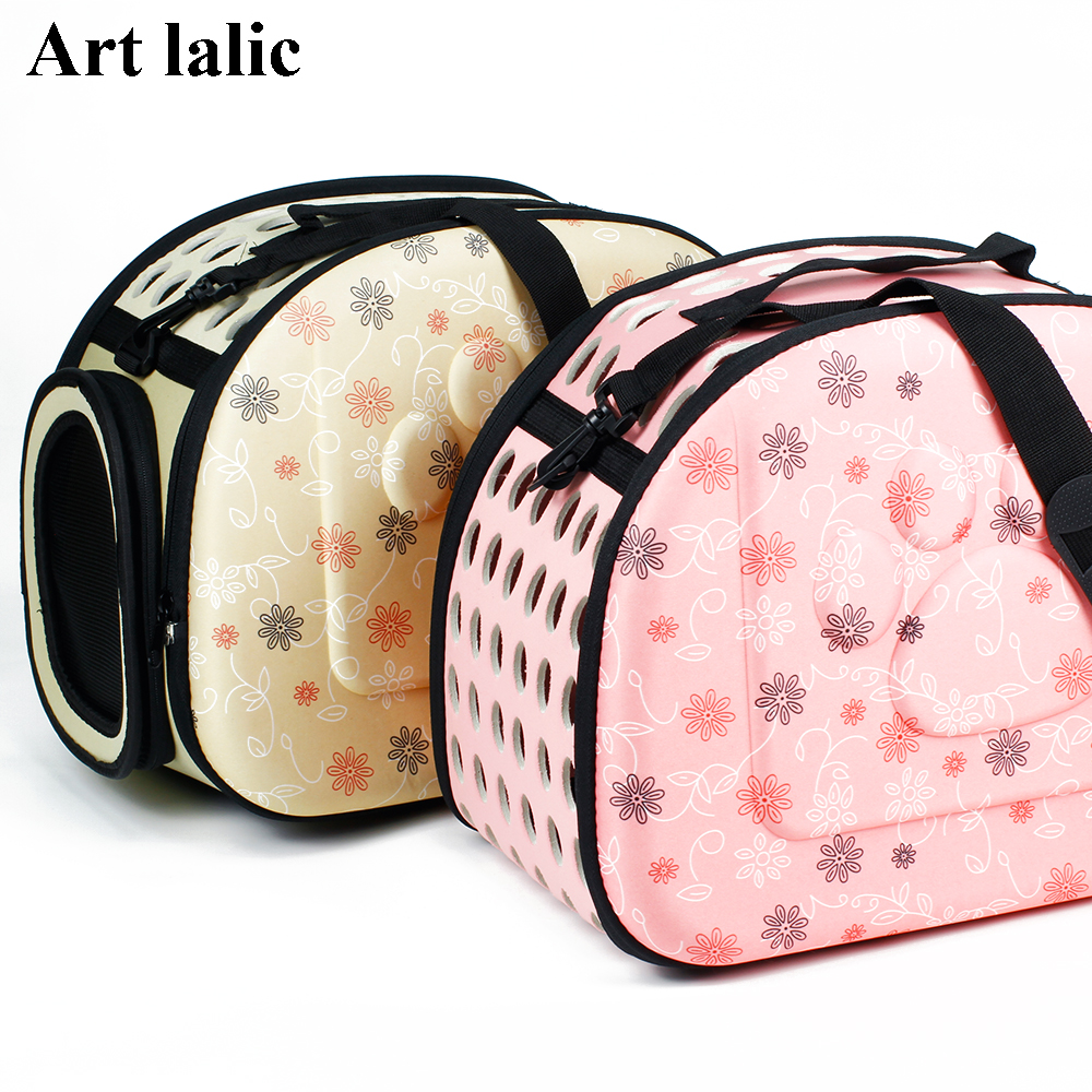 Foldable Eva Pet Carrier Puppy Dog Cat Outdoor Travel Shoulder Bag For Small Pets Soft Kennel Pet Cage 43*27*31cm