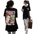 2016 mujeres de La Manera Camiseta Del Verano lindo de la historieta Letras Imprimir harajuku camiseta de Las Mujeres Ropa de Gran Tamaño Top graphic tees mujeres