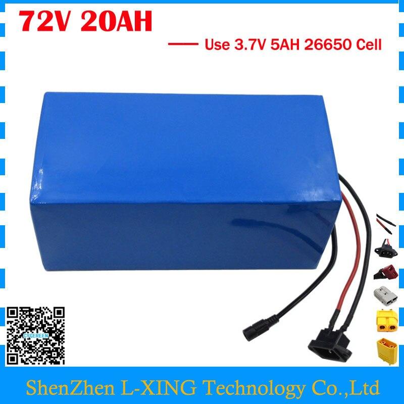 Haute qualité 2500 w 72 v 20AH Scooter batterie 72 v 20AH batterie Au Lithium 72 v batterie 3.7 v 5AH 26650 Cellulaire 40A BMS Livraison taxes