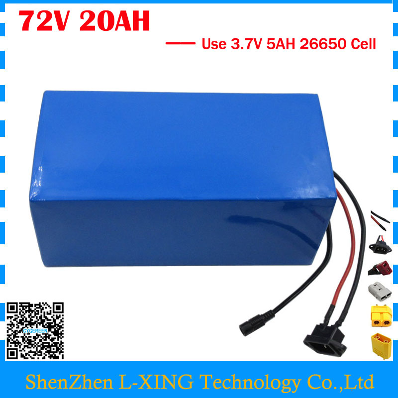 High quality 2500W 72V 20AH Scooter battery 72V 20AH Lithium battery 72 V Battery pack 3.7V 5AH 26650 Cell 40A BMS Free taxes free customs taxes and shipping balance scooter home solar system lithium rechargable lifepo4 battery pack 12v 100ah with bms