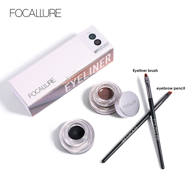 FOCALLURE 2pcs/set  Black Eyeliner Gel Cream waterproof long lasting eyeliner professional eyebrow gel with brushes