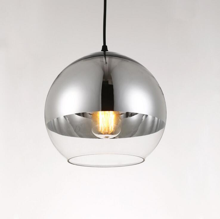 Plating space glass ball Nordic post-modern restaurant chandelier simple bedroom bar creative light led lighting fixture led
