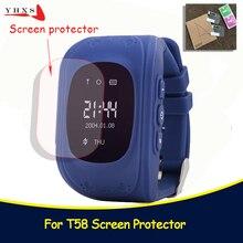 Для малышей и детей постарше Smart gps смотреть Универсальный защиты закаленное Smartwatch Стекло Экран фильма протектор чехол для Q50 T58 Y3 5 шт.